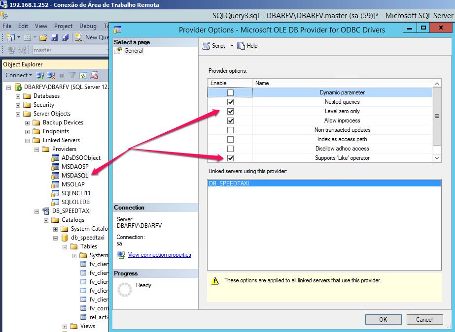 WX - Conectar Microsoft Sql Server Local com Linkdb em um